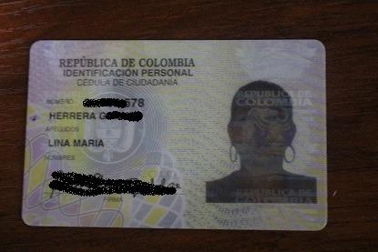Cedula de Lina María Herrera G