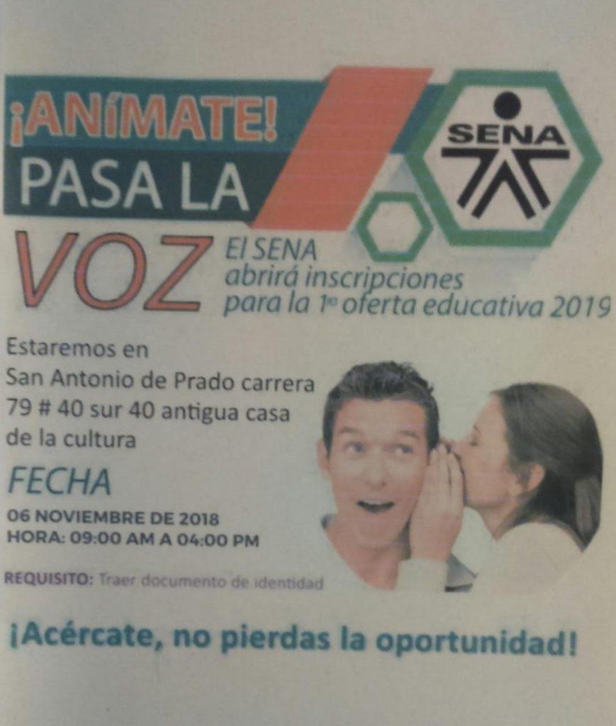El Sena Abrirá Inscripciones Para Oferta 2019