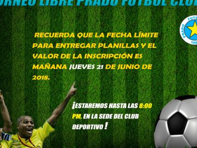 Hasta El Jueves 21 De Junio Inscripción A Torneo Libre