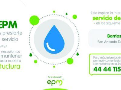 Habrá Interrupción De Servicio De Agua En San Antonio De Prado