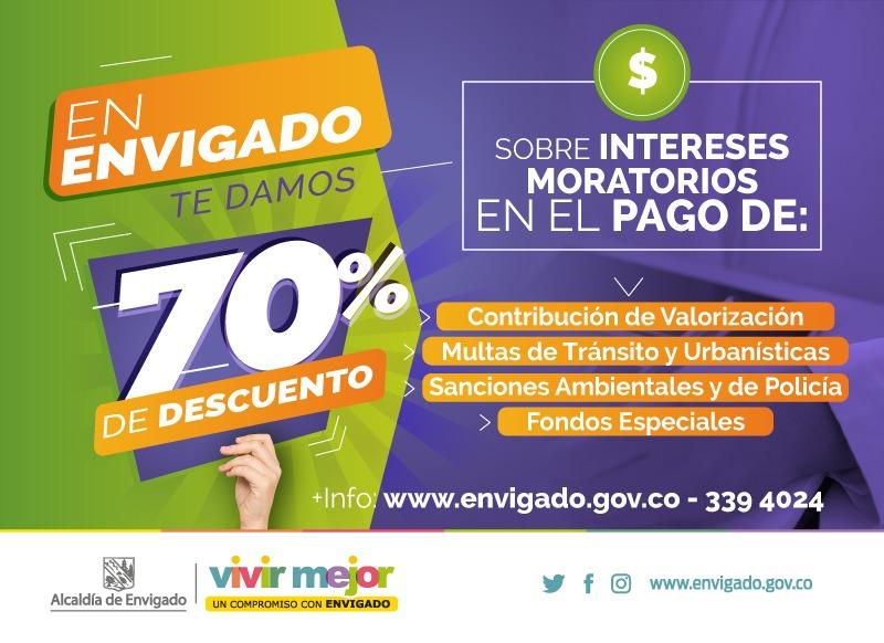 70 por ciento de descuento multas-sanciones Municpio de Envigado
