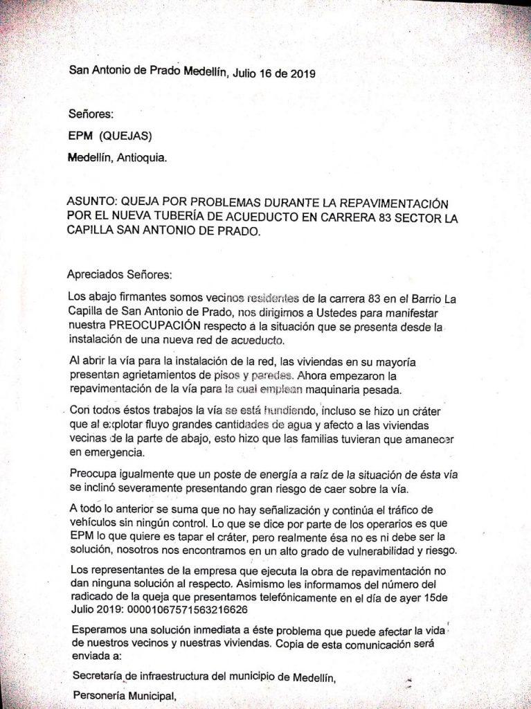 Carta Enviada Por La Comunidad A Entidades Solicitando Solución