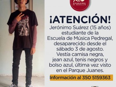 Jerónimo Suárez, Estudiante De La Escuela De Música Pedregal Se Encuentra Desaparecido