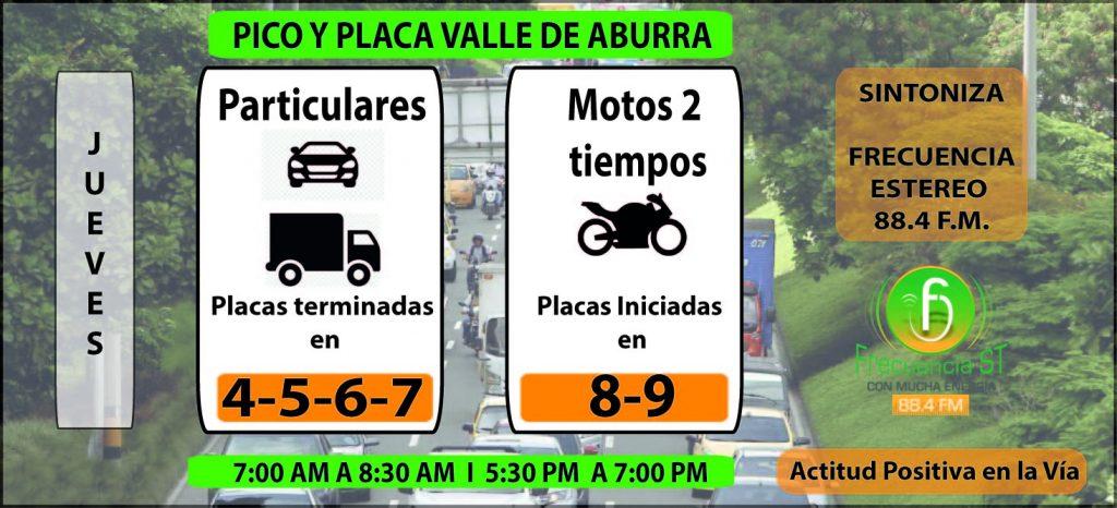 PICO Y PLACA JUEVES EN MEDELLIN Y VALLE DE ABURRA SEGUNDO SEMESTRE-01-01-01-01-01