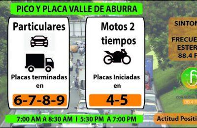 PICO Y PLACA MARTES EN MEDELLIN Y VALLE DE ABURRA SEGUNDO SEMESTRE 01