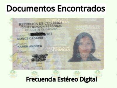 Se Encontró La Cédula De Ciudadanía De Karen Andréa Muñoz Cadavid