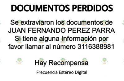 Documentos JUAN FERNANDO PEREZ PARRA
