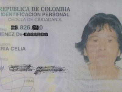 Se Encontró La Cédula De Ciudadanía O Documento De Identidad De:María Celia Jimenes De Fajardo