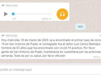 No Caiga En El Juego, No Es Cierto Que Hay Coronavirus En San Antonio De Prado.