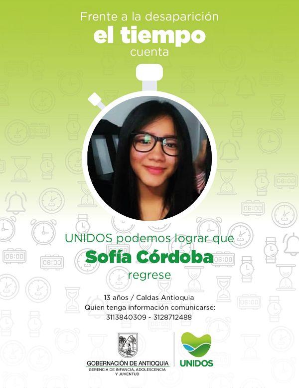 Se Busca desaparecida Sofía Cordoba