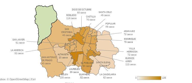 Así Van Los Casos De Covid19 En Los Corregimientos De Medellín
