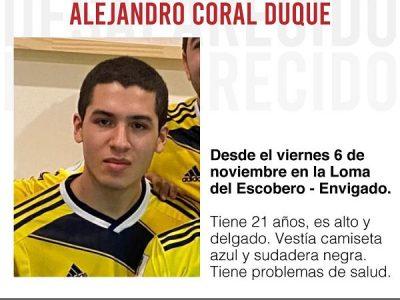 Alejandro Coral Duque Se Encuentra Desaparecido. Su Familia Lo Espera!