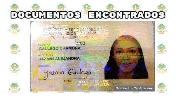 Se Encontró La Cédula De Ciudadanía De Jazmín Alejandra Gallego Carmona