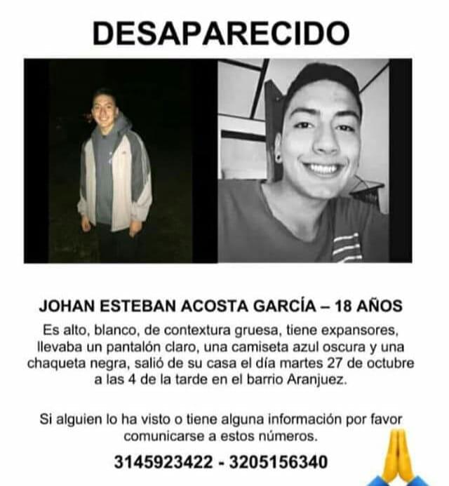 Jhoan Esteban Acosta Garcia Desaparecido