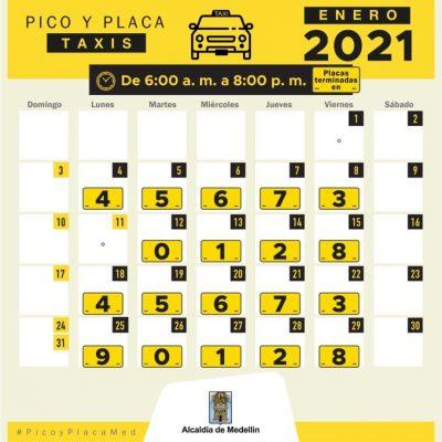"""""""Solo Para Los Taxis"""" Pico Y Placa Para El Día Viernes 22 De Enero En Medellín Y El Valle De Aburrá"""