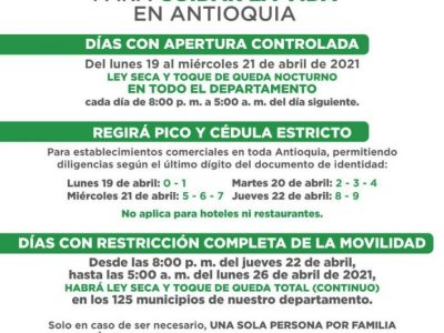Gobernador De Antioquia, Anunció Nuevas Medidas Que Regirán Durante La Próxima Semana