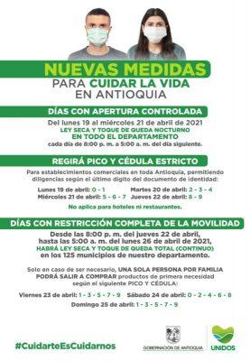 Pico Y Cédula Y Otras Medidas Que Estarán Vigentes En Medellín Y El Valle De Aburrá Hasta El 26 De Abril