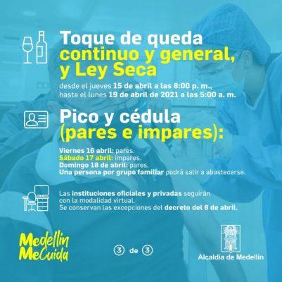 Pico Y Cédula Para El Día Viernes 16 De Abril En Medellín Y El Valle De Aburrá