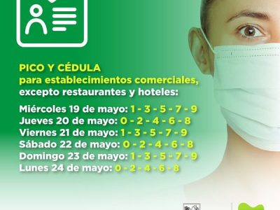 Así Regirá La Medida De  Pico Y Cédula Para El Día Lunes 24 De Mayo En Medellín