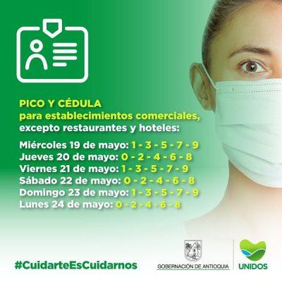 Pico Y Cédula Para El Día Jueves 20 De Mayo En Medellín Y El Valle De Aburrá