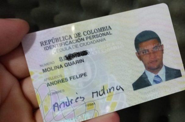 Se Encontró La Cédula De Ciudadanía De Andrés Felipe Molina Guarín