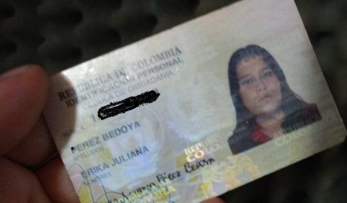 Se Encontró La Cédula De Ciudadanía De Erika Juliana Pérez Bedoya