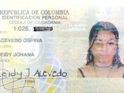 Se Encontró La Cédula Leidy Johana Acevedo Ospina