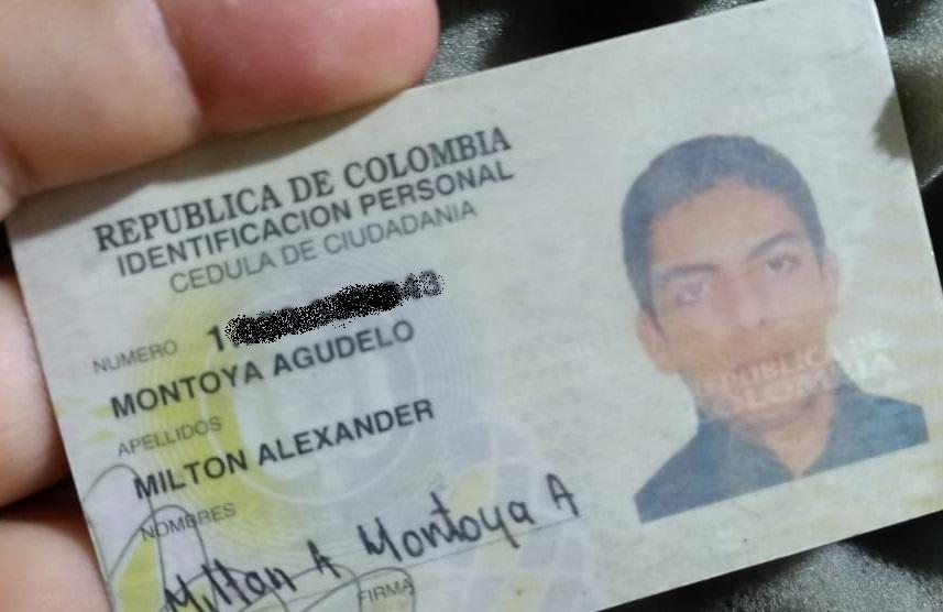 Cédula Milton Alexander Montoya Agudelo