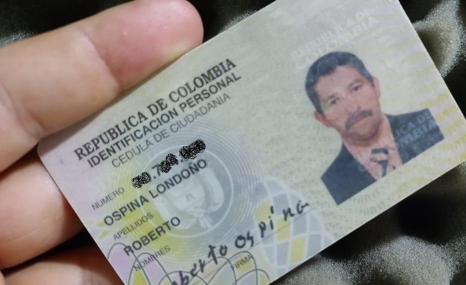 Cédula Roberto Ospina Montoya
