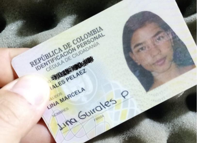 Cédula de Lina Marcela Guirales Pelaez