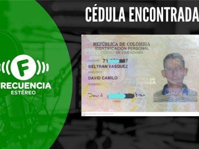 Se Encontró La Cédula De David Camilo Beltrán Vásquez