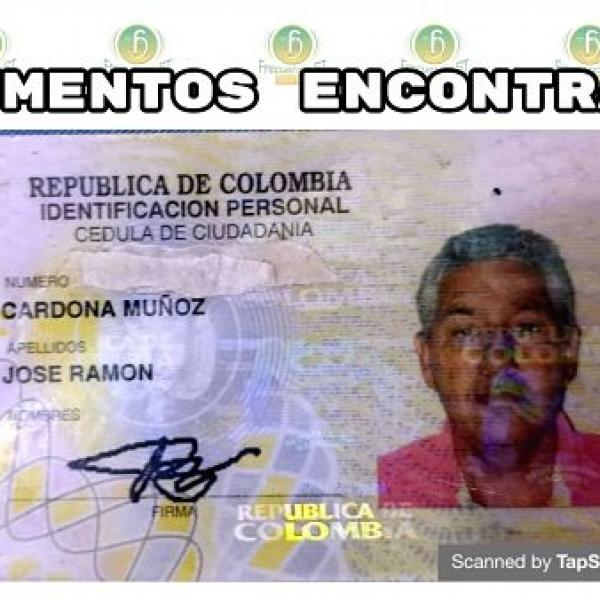 Se encontró la cédula de ciudadanía de José Ramón Cardona Muñoz