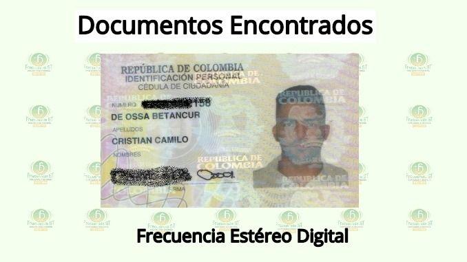 Se encontró la cédula de ciudadanía de Cristian Camilo De Ossa Betancur