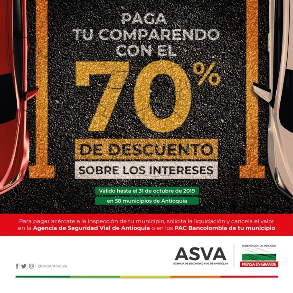Hasta el 31 de octubre de 2019 descuento del 70% sobre intereses para que conductores estén al día