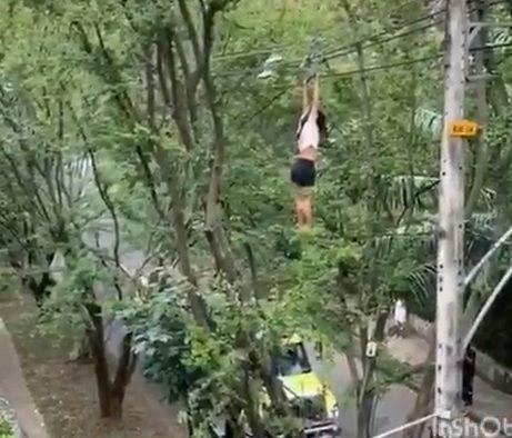 En Video: Una mujer cae a la vía pública cuando colgaba de unos cables