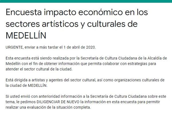 Atención¡ si perteneces al sector Cultural y Artístico de Medellín esta información le interesa