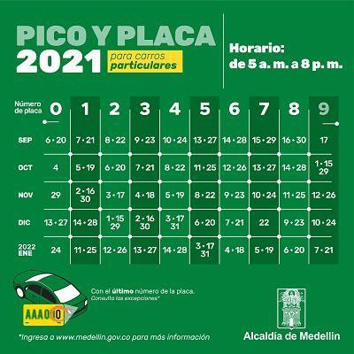 Pico y placa para el día viernes 17 de septiembre en Medellín