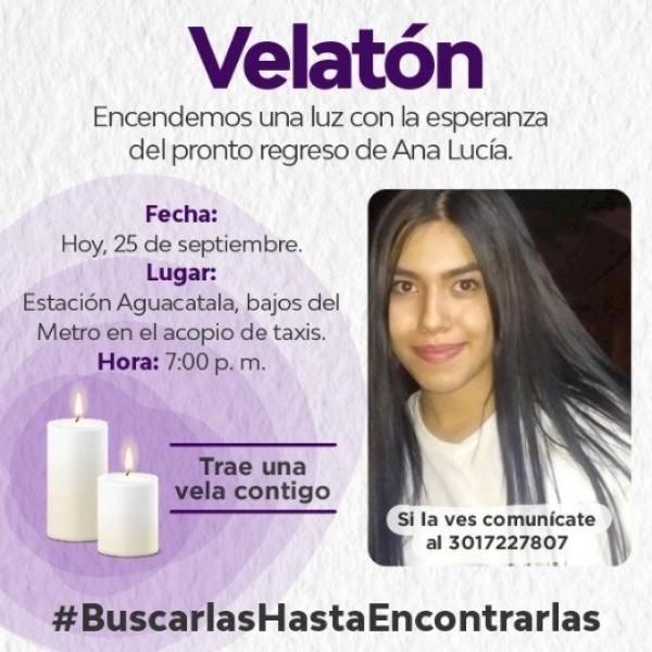 Hoy 25 de septiembre, habrá velatón por la joven Ana Lucía Fernández Villa