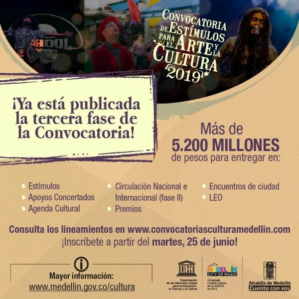 Alcaldía de Medellín destinará $5.000 millones en la Convocatoria de Estímulos para el Arte y la Cultura